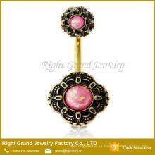 Oro quirúrgico 316L plateó el anillo rosado del ombligo de la flor del ópalo plateado