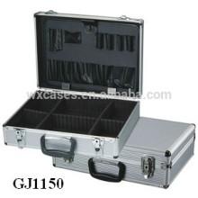 forte & portable aluminium outil cas avec rabattables outil Pallet et réglable compartiments à l'intérieur