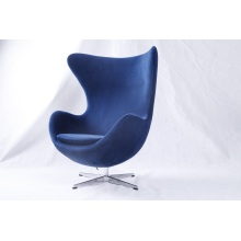 Blauer Samt Arne Jacobsen Egg Chair Replik