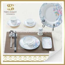 Conjunto de jantar de louça de porcelana azul e branca cerâmica