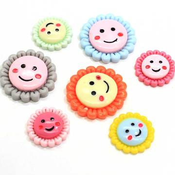 Colorful 20mm 28mm Cute Smile Face Sunflower Flatback Resin Button Cabochon For Diy Craft Scrapbook  Embellishment
