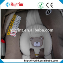 Custom heat transfer warning labels on car seat