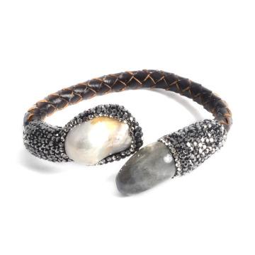 Мода Кожа драгоценных камней Браслет ювелирные изделия для леди девочка