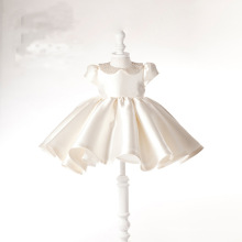 Champagne Satin Beading Flower Girl Dress for Wedding