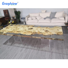 2 m length Clear color resin walnut solid wooden table