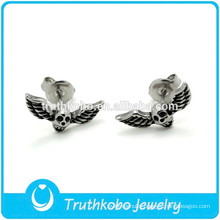 TKB-E0075 Personality Ear Ring Biker Jewelry with Wings Skull Head Stud Earring for Men