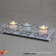 White Metal Vintage Tea Light Holders with Crystal Love Hearts