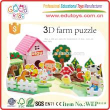 Venta caliente juguete educativo niños granja conjunto, Happy 3D granja de madera establecida para los niños