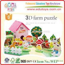 Hot Sale Educational Toy Kids Farm Set, Happy 3D Wooden Farm Set for Children