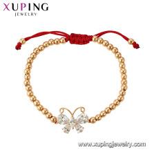 75355 Xuping ventas calientes popular pulsera de cuentas bañadas en oro de 18 k con encanto de mariposa
