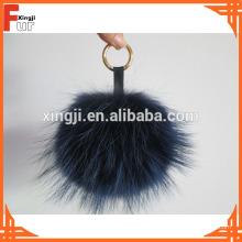 Fourrure de raton laveur Pom Pom avec porte-clés