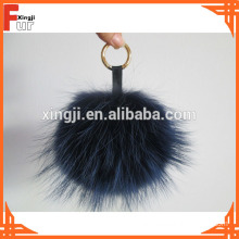 Raccoon Fur Pom Pom with keychain