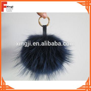 Raccoon Fur Pom Pom with keychain