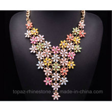 2016 Latest Neon Flower Choker Statement Necklace Beaded Necklace (TP-119)