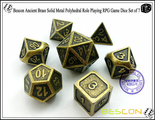 Bescon New Style Ancient Brass Solid Metal Polyhedral Role Playing RPG Game Dice Set (7 Die in Pack)-1