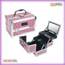Небольшой размер розовый бриллиант АБС макияж Организатор чехол с зеркалом (SACMC091)