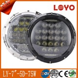 Hottest 5D 75W 7inch led headlight for Jeep wrangler Hi/Lo beam with DRL headlamp for truck