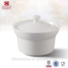 Sopera de sopa / sopa de sopa de cerámica blanca