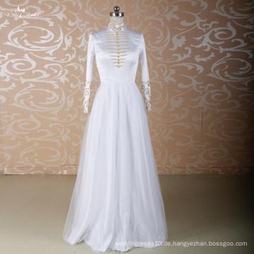 LZ001 Alibaba lange Hülsen-Hochzeits-Kleider hohe Ansatz-Hochzeits-Kleid-Kristallhochzeits-Kleider