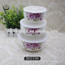 Cuenco de cerámica popular con tapa, cuenco de cerámica fresca con tapa de plástico, cuenco con diseño