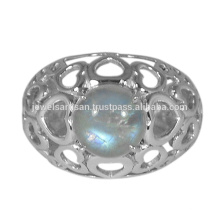 Lovely Rainbow Moonstone Edelstein 925 Sterling Silber Ring