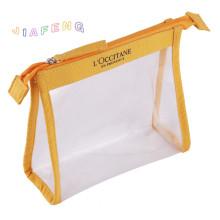 Yellow Fabric Piping EVA Makeup Bag With Zipper