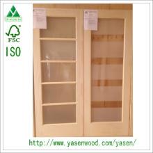 Irradie a porta francesa de madeira interior do pinho