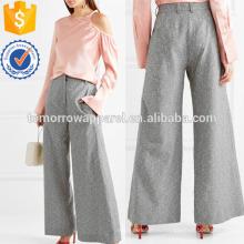 Шерсть-смесь широкого покроя Твидовые брюки Производство Оптовая продажа женской одежды (TA3039P)