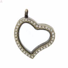 conjunto de jóias de vidro medalhão flutuante coração
