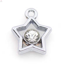 Benutzerdefinierte Silberlegierung Stern Charm, Silber Kristall Anhänger Charm Schmuck