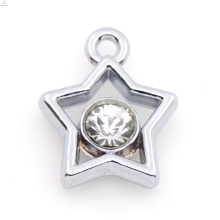 Encanto de encargo de la estrella de la aleación de plata, joyería pendiente cristalina del encanto de plata