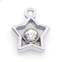 Charme de estrela de liga de prata personalizado, pingente de cristal de prata charme jóias