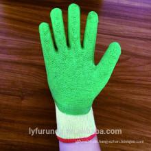 10 Gauge 5 Fäden Polycotton Handschuhe mit Schaum Latex beschichtet Palme, Falten Ende beschichtet