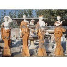 Tallando la piedra de mármol cuatro estatuas de la estación para el jardín (SY-C1064)