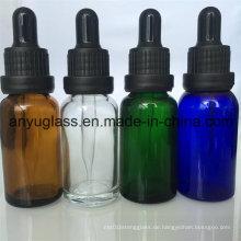 Glas-Tröpfchen-Flasche für ätherisches Öl grün blau bernsteinfarben