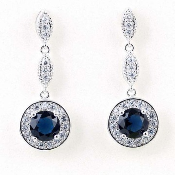 Fashion Silver Zircon Inlaid Rhodium Tassel Earrings Jewelry