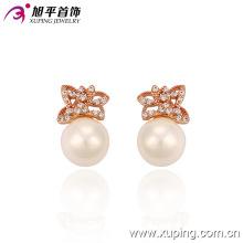 Pendiente de perlas de imitación de mariposa delicado color rosa de New Style