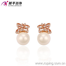 New Style Rose Color Delicate Butterfly Imitation Pearl Earring