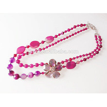 Handmade Hot Pink Semi Precious Stone Sweater Necklace