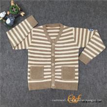 Pull cardigan rayé à manches longues bicolores pour enfants