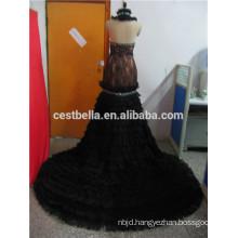 Real picture black muslim evening dress dubai wedding gown