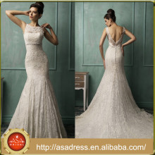 AMS02 Long Crystal Beaded Bridal Gowns Mermaid Lace Open Back China Factory Vestido de Noiva