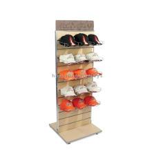 Resistente a la pared Slatwall bambú madera doble lado metal titular sombrero Cap punto de la pantalla estante