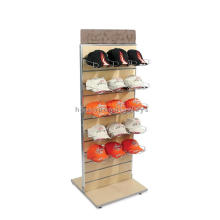 Sturdy Freestanding Slatwall Bamboo Wood Double Side Metal Holder Hat Cap Point Of Display Shelf