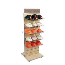 Sturdy Freestanding Slatwall Bamboo Wood Double Side Titular de metal Hat Cap Point of Display Shelf