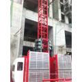 Elevador da construção, grua elétrica da construção da gaiola dobro para a venda