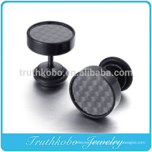 TKB-E0062 Black Carbon Fiber 316L Stainless Steel Screw Stud Earrings Pair