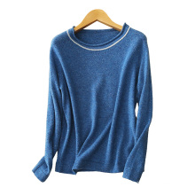Women's 12gg O neck color spot yarn cashmere knitting sweater with white arc sequin neckline pullover sweater
