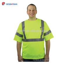 100% Poliéster Birdseye Malha Hi-vis Amarelo T Shirt Camisas de Trabalho de Segurança Durável Para Homens Com 3 M Tiras Refletivas EN20471