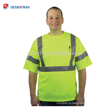 100% полиэстер сетка птичий глаз Привет-vis желтый Футболка прочный безопасности работы рубашки для мужчин с 3M светоотражающие полоски EN20471